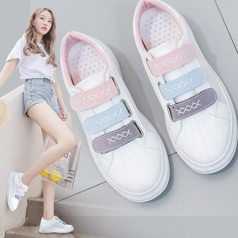 35a0f85a877 2018 женские летние кроссовки на толстой плоской подошве, белые ...