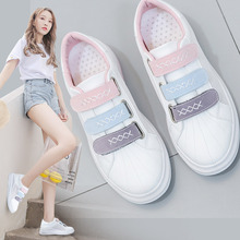 2019 Women Sneakers for Summer Thick Bottom Flat Heel Hook Loop Female White Shoes Leather Air Mesh Cloth Breathable Shoes 35-40