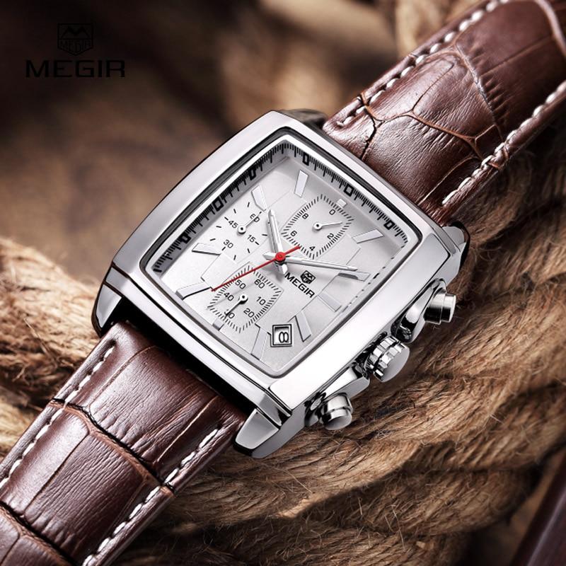 Megir Fashion Casual Military Chronograph Quartz Watch Men Luxury Waterproof Analog Leather Wrist Watch Man Free Shipping 2028