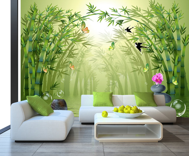 Free shipping bamboo forest living room tv wallpaper for Dining room 3d wallpaper