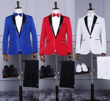 Singer star style dance stage clothing for men print suit set with pants 2017 mens wedding suits costume groom formal dress red