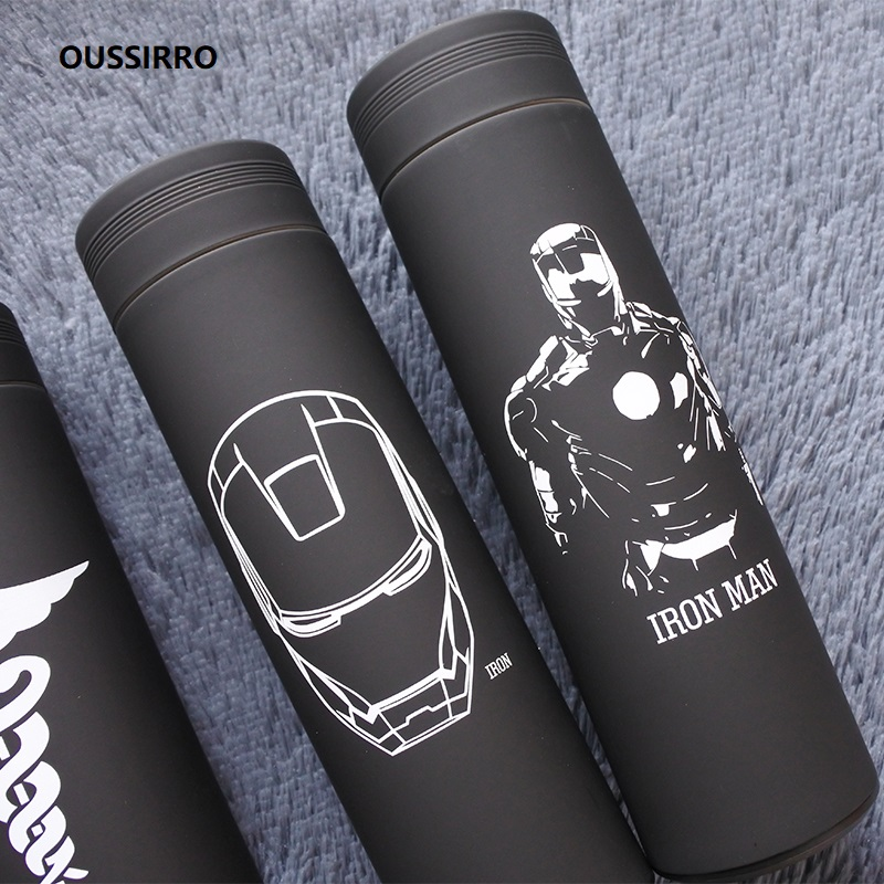 OUSSIRRO Iron Man Avenger Super Hero Spider Stainless Steel Thermos Cup Originality Portable Water Bottle