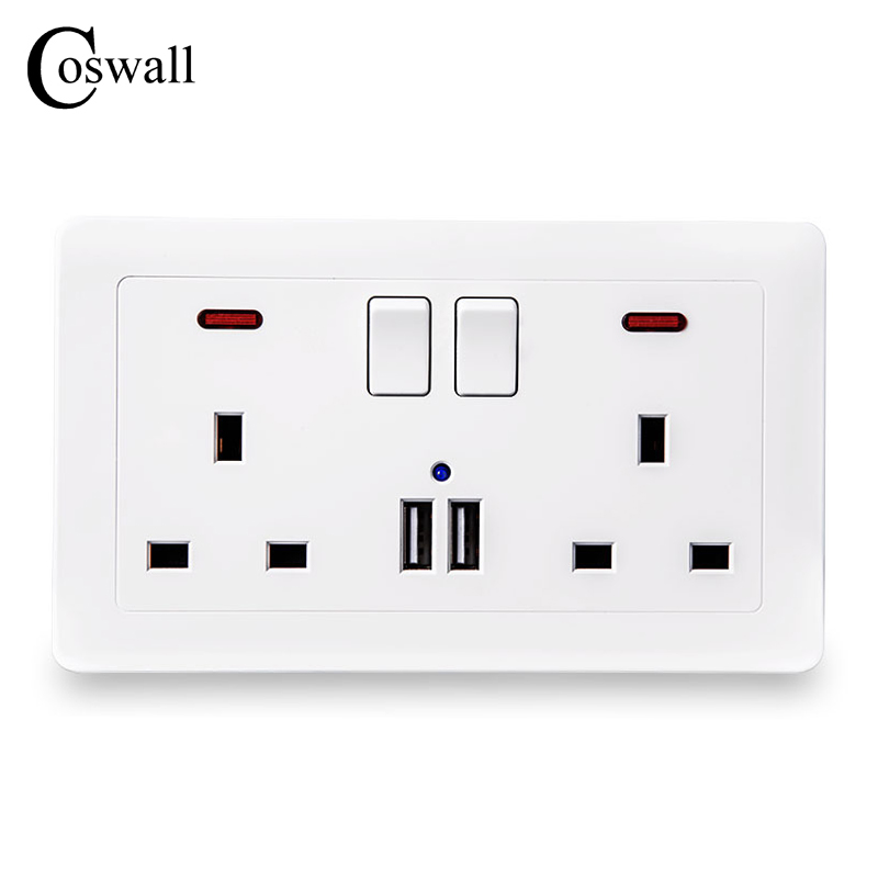 Home Improvement Modest Coswall Wall Power Socket Double Uk Standard Outlet Switched 2.1a Dual Usb Charger Port Led Indicator 146mm*86mm With Traditional Methods