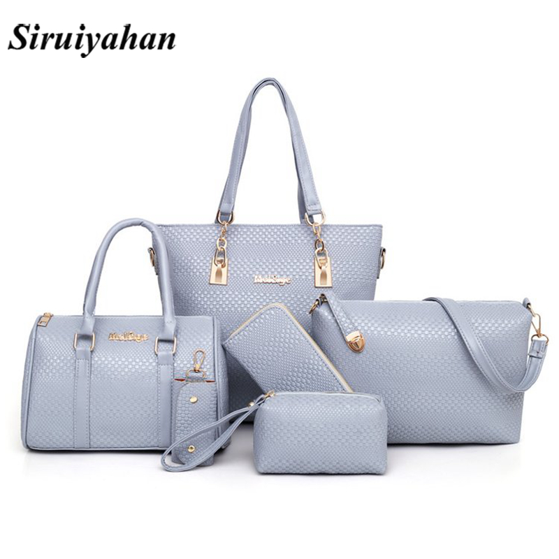 Women 6 Pcs/Set Handbags Pu Leather Shoulder Bags Casual Tote Bag Tassel Metal Handle Designer Composite Messenger Bag Purse Sac metal ring pu leather tote bag