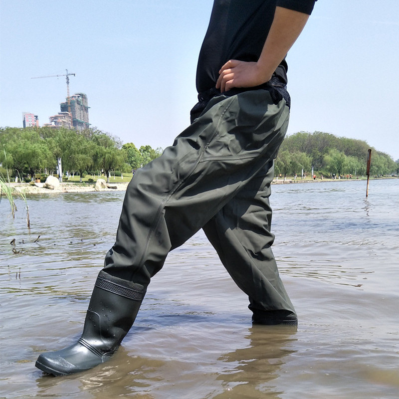 High Jump 0 75mm Waist Breathable Mesh Fishing Waders Thickning Waterproof One Piece Suits PVC Boots