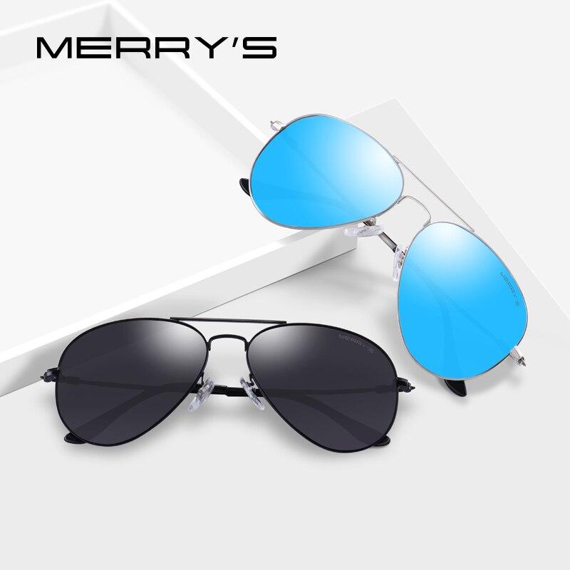 ed44f655c1a MERRY S Men Women Classic Pilot HD Polarized Sunglasses Aviation Frame  Titanium Memory Alloy Temple UV400