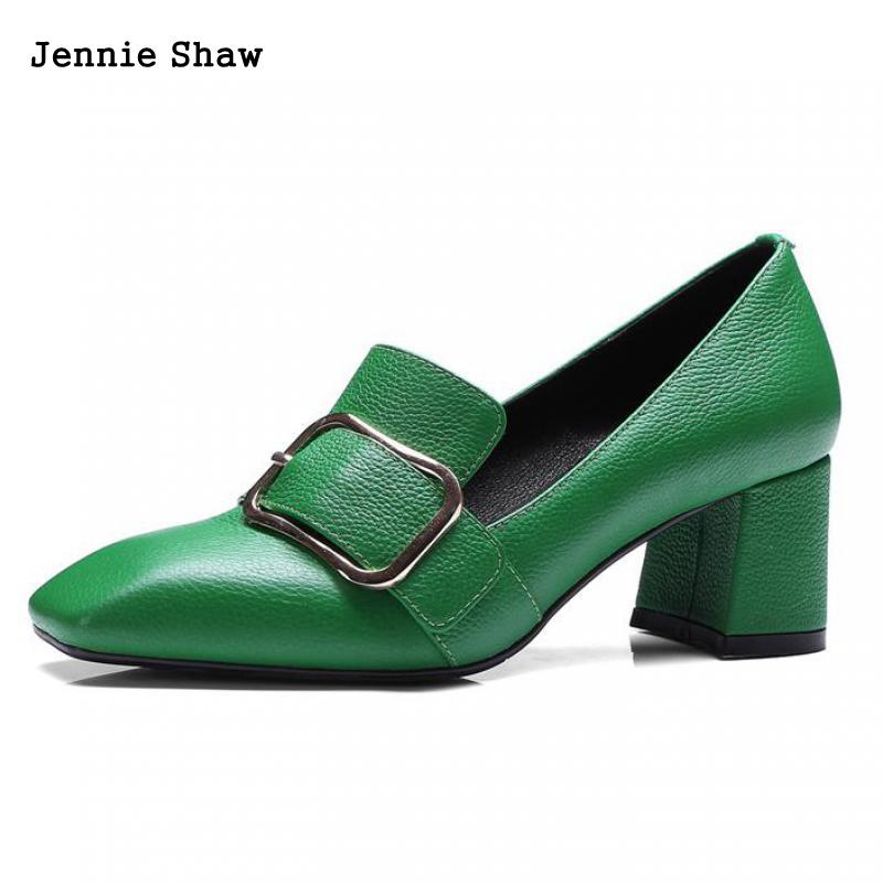 цена на Genuine Leather Shoes For Women's Square Head Belt Buckle Fashionable Leather Shoes Green