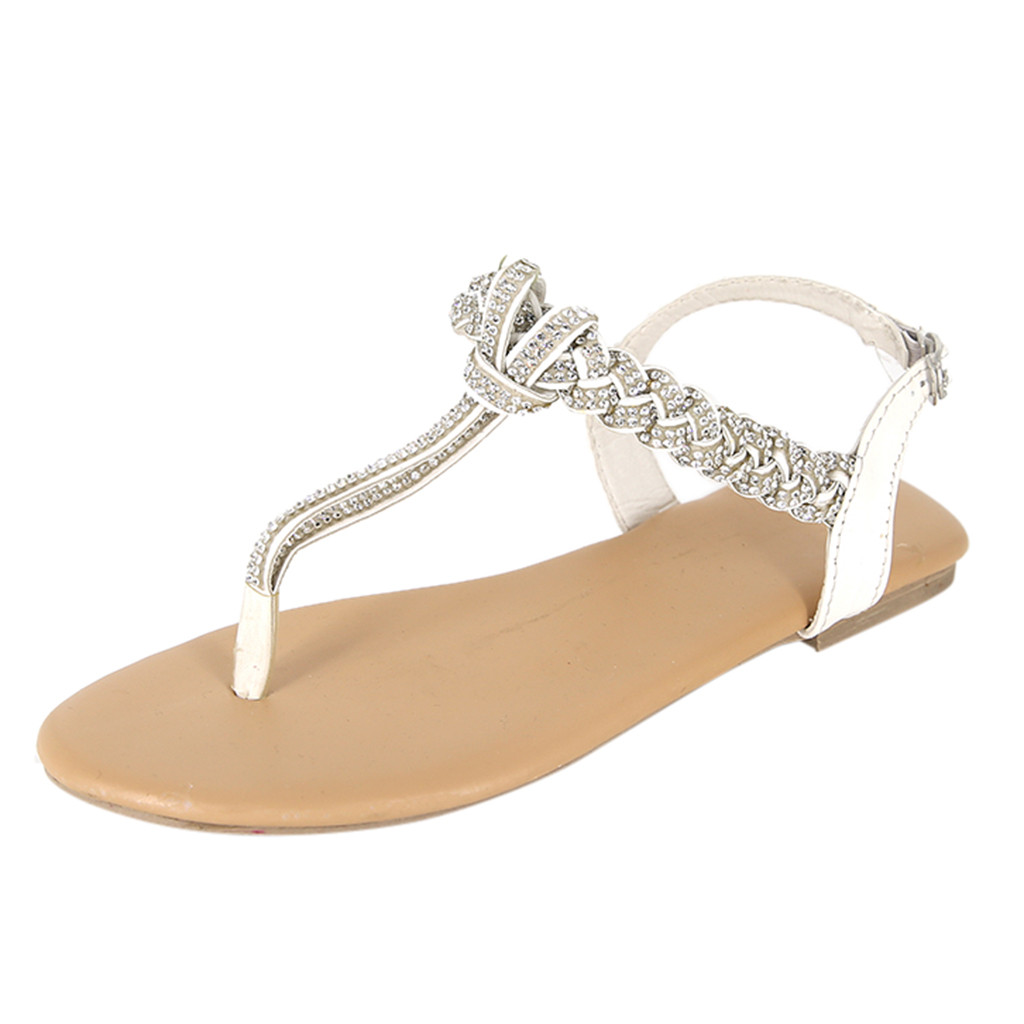 Luxury Womens Flat Shoes Cover Shallow Women Ladies Fashion Crystal Casual Big Size Flat Beach Sandals Roman Shoes 2019