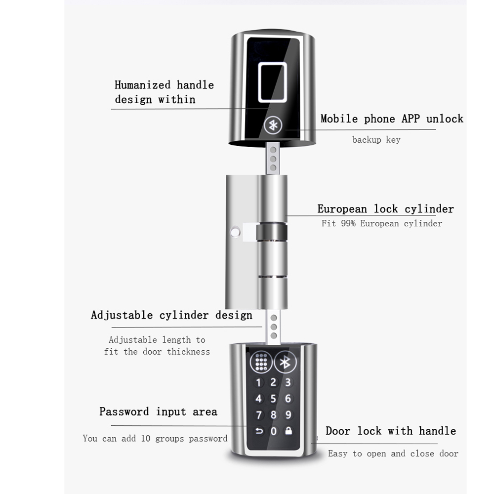 Image 2 - L5PCB Bluetooth digital Safe Lock Door Smart Keypad Wireless Bluetooth Password Electronic Lock Cylinder with door knob handle-in Electric Lock from Security & Protection