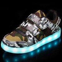 2017 Automne Enfants Lumineux Sneakers Armée Vert USB Charge Chaussures pour Garçons LED Lumière Chaussures Enfants Sport Sneakers