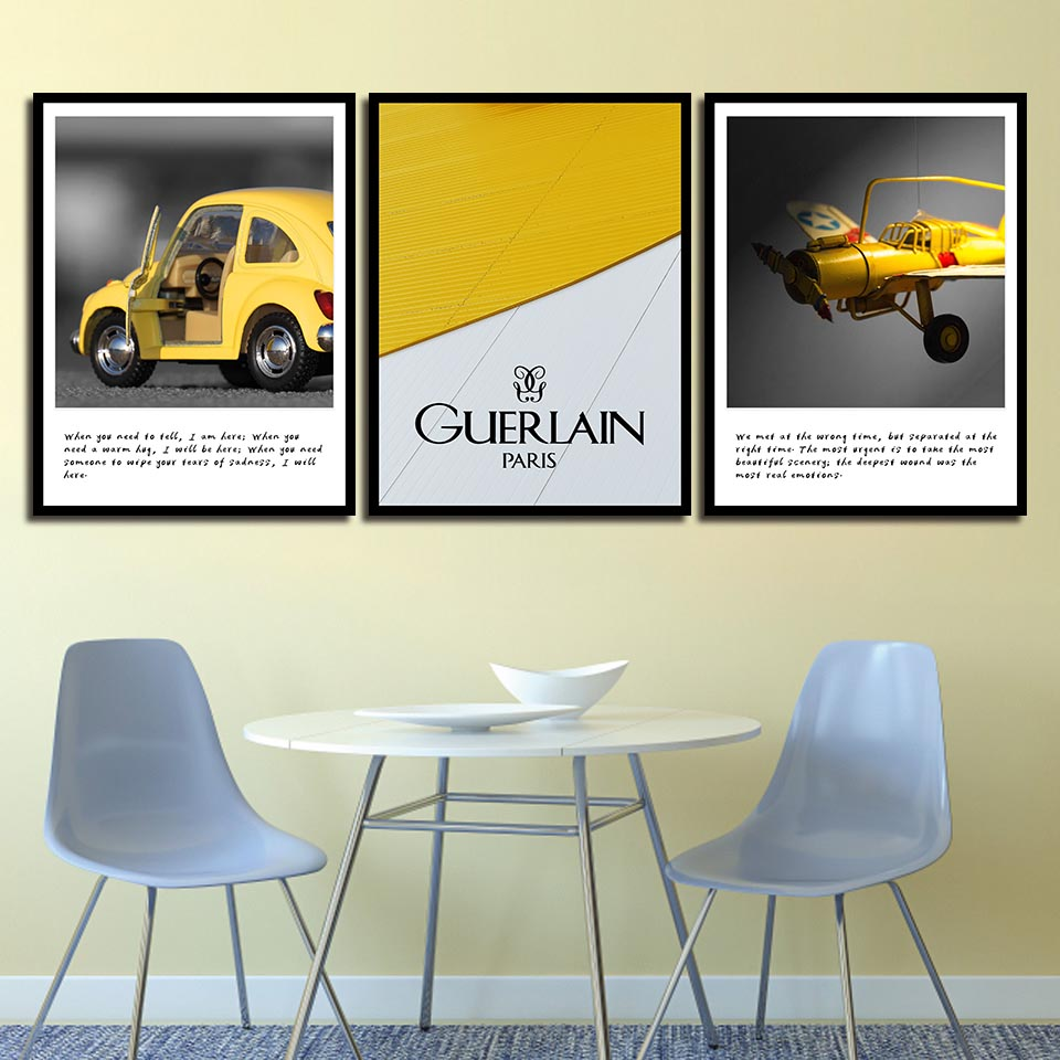 Yellow Toy Car Plane Pictures Wall Art Print Nordic Poster Office Modern Canvas Quotes Painting Living Room Fashion Home Decor image