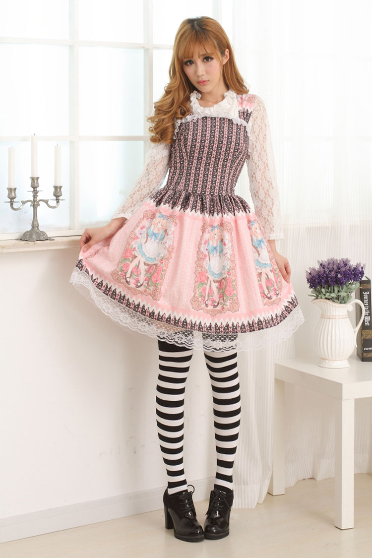 JSK Lolita Cute Lolita Costume Elastic Style Dress Lovely Print Lolita JSK Pink