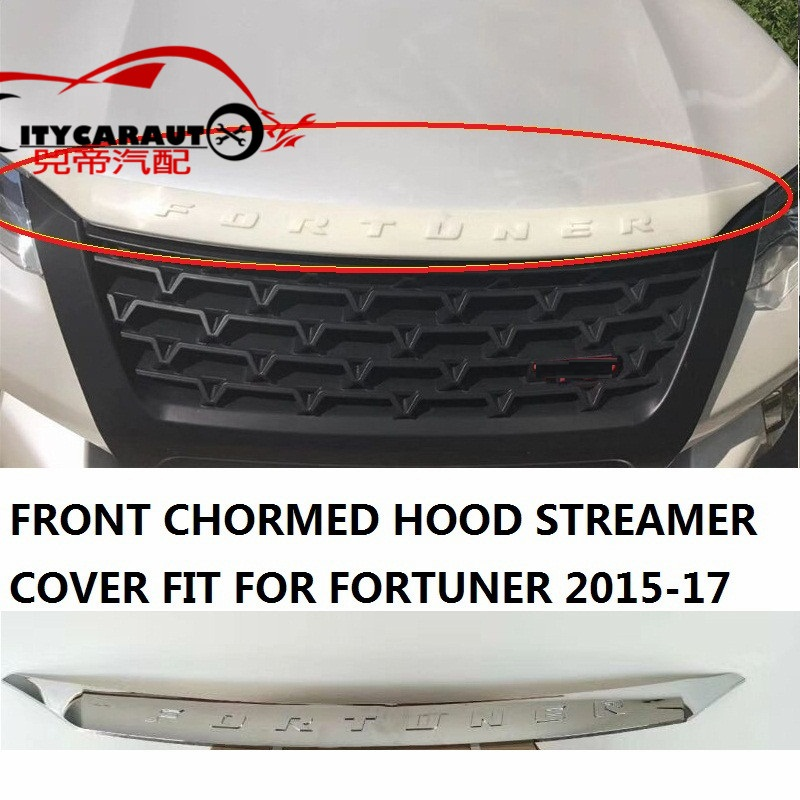 CHORMED CAR COVER FIT FOR TOYTA FORTUNER cover accessories front chormed hood streamer cover fit for toyta fortuner 2015-2017