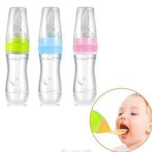 Детские Силиконовые сжимаемые бутылочки для кормления посуда с ложкой еда рисовые мюсли подача безопасные Твердые кормления