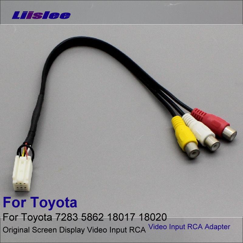 Liislee 6 Pins Original Video Ingång RCA Adapter Trådkabel för Toyota 7283 5862 18017 18020 DVD-spelare Anslut bakre kamera