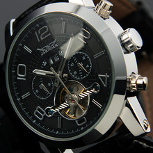 Lujo Dial Negro Automático 6 Manos Fecha Día Tourbillion Analógica Vestido de Pulsera Banda de Acero Inoxidable Completa Mens Reloj Mecánico