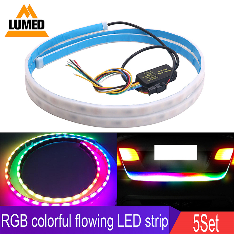 5Set Colorful Mode Signal Flow Trunk Strip light Tailgate luggage Car Rear Lamp Dynamic Streamer Floating