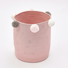 Cute Poms Storage Bucket - Premium Cylindric Burlap Canvas Round Laundry Toy Storage Bin, Best Room Decor & Hamper Organizer