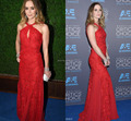 Party Dress Red Sleeveless A-Line Floor-Length Celebrity Dresses 72nd Golden Globe Awards Evening Gown Appliqued beading 2015