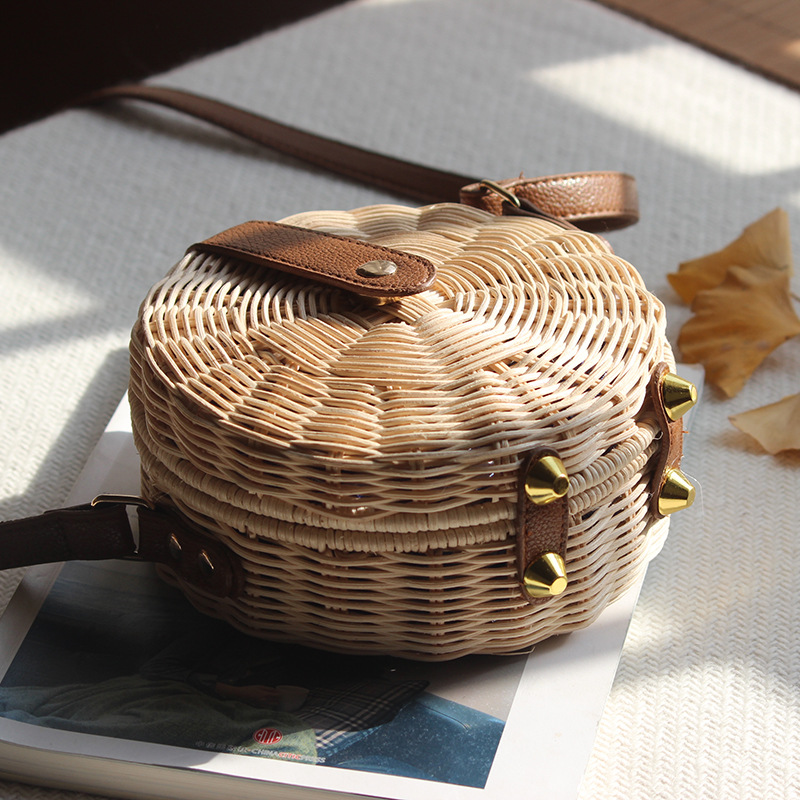 Round Rattan Bag Female Straw Beach Bag Holiday Bag Shoulder Diagonal Bag 5