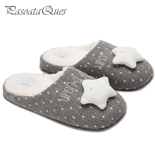 30931b80cf3 New Cute Star Women Home Slippers Warm Winter House Shoes For Indoor Bedroom  Cotton Shoes Girls