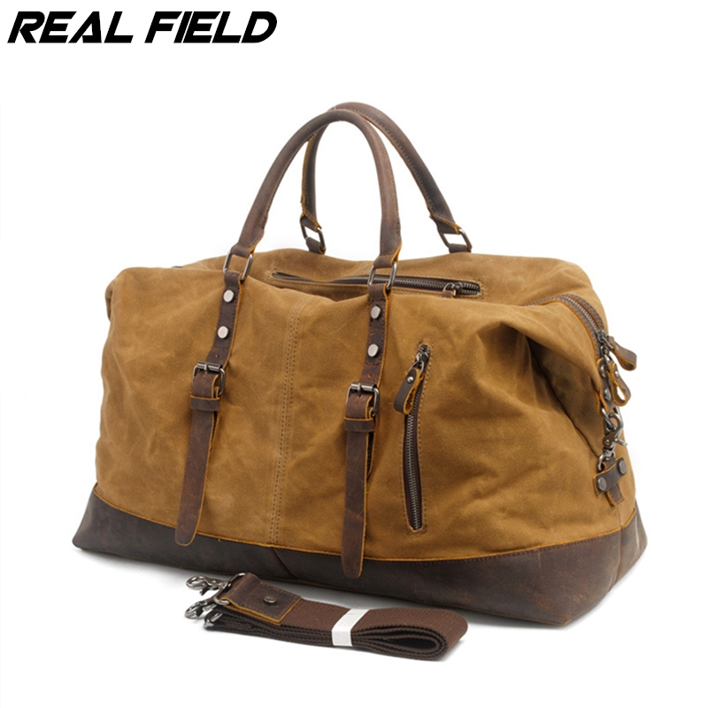 Real Field RF Men Canvas Duffle Tote Bag Casual  Weekend Portable Multifunctional Crossbody Waterproof Luggage Travel Handbags 9 aosbos fashion portable insulated canvas lunch bag thermal food picnic lunch bags for women kids men cooler lunch box bag tote