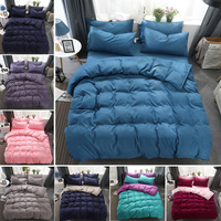 4 Pieces Bedclothe Polyester Fade Resistant Bedding Set Single/Double Home Textiles Suit Pillowcase Duvet Cover Bed Sheets Sets