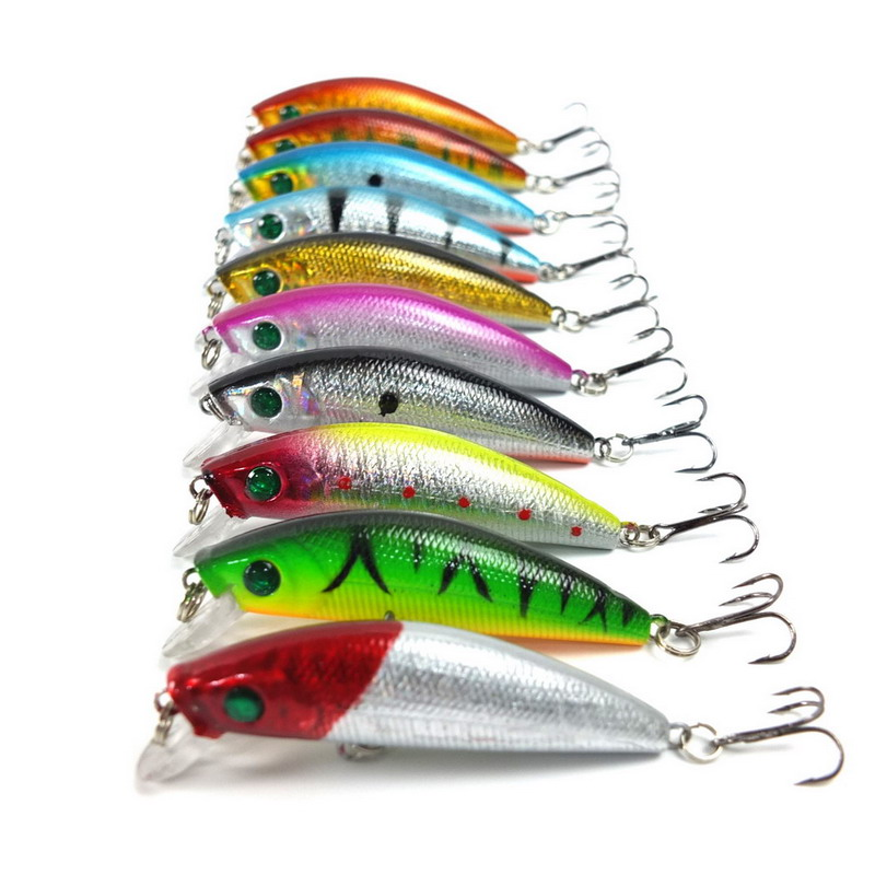 10pcs/set Lifelike Minnow Fishing Lure 7CM 8.5G 6# Hooks Fish Wobbler Tackle Crankbait Artificial Japan Hard Bait Swimbait wldslure 1pc 54g minnow sea fishing crankbait bass hard bait tuna lures wobbler trolling lure treble hook
