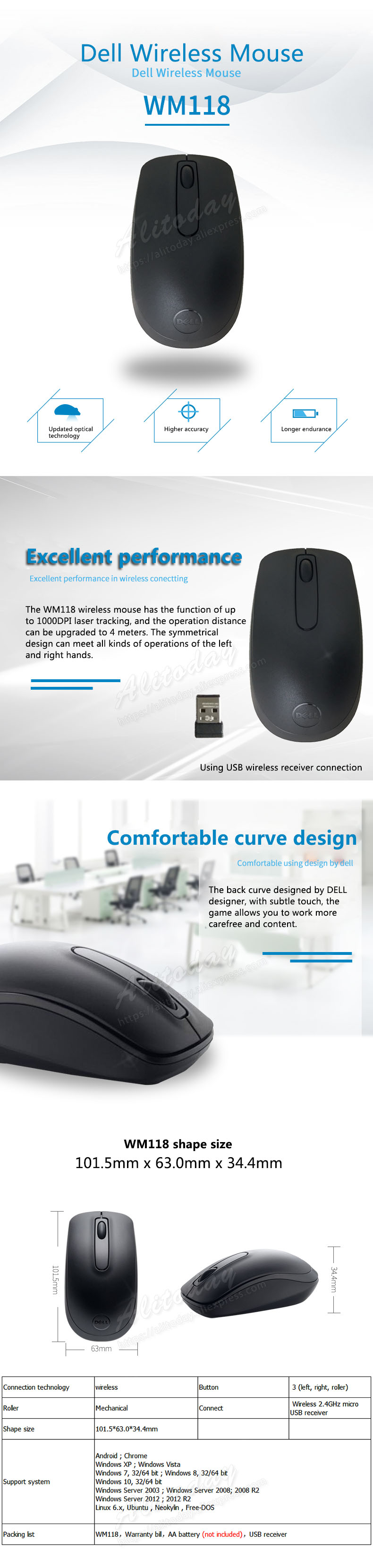 US $15 89 |DELL WM118 1000 DPI wireless optical mouse desktop all in one  laptop-in Mice from Computer & Office on Aliexpress com | Alibaba Group