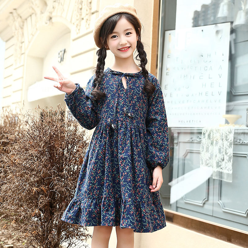 Warm Printed Fleece Dresses For Girls Autumn Winter 2018 Dress Kids Baby Big Girl Clothes Children Red Blue Christmas Clothing jomake girls dress 2017 new winter cute watermelon printed kids dresses for girls fleece princess dress children clothing 2 7y
