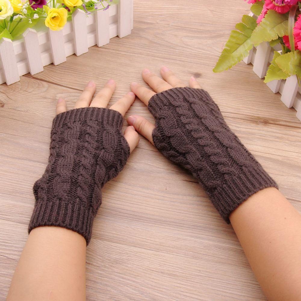 Women Gloves Stylish Hand Warmer Winter Gloves Women Arm Crochet Knitting Faux Wool Mitten Warm Fingerless Gloves 1Pc