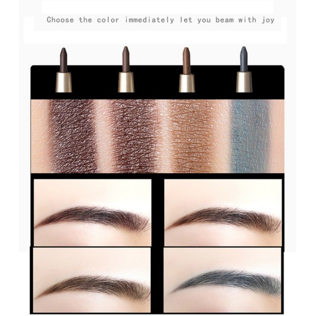 Eye Brow Makeup Kit with Refill Easy to Wear Pigment Brown Gray Waterproof Eyebrow Pencils with Stencils 5