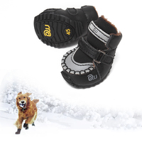 2 Pcs Set Dog Shoes Winter Warm Waterproof Breathable Non Slip Shockproof Pet Paw Protector Durable