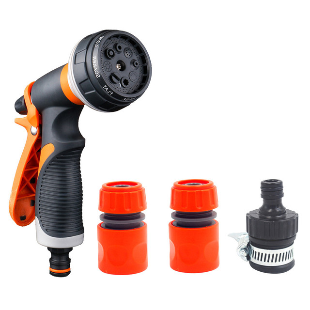 Garden Watering System Hose Nozzle Watering Spray High Pressure Water Sprinkler With 8 Watering Function No Leakage Hose Nozzle