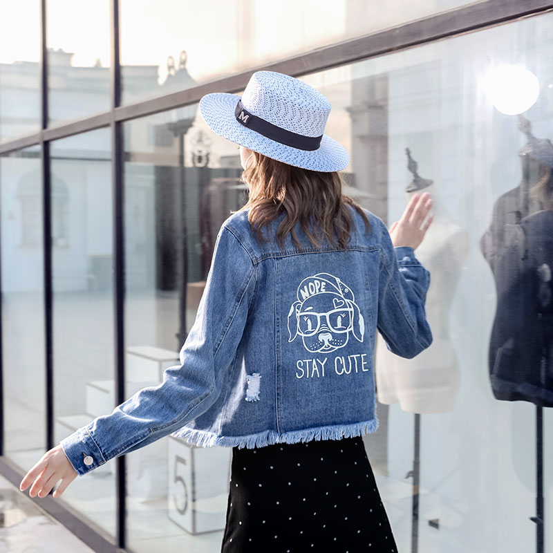 Denim Fringe Clair Femmes Adolescents Gland Veste Slim Jean Kawaii Mode Fille De Collège 2018 Bleu Bureau Déchiré roCBdxe