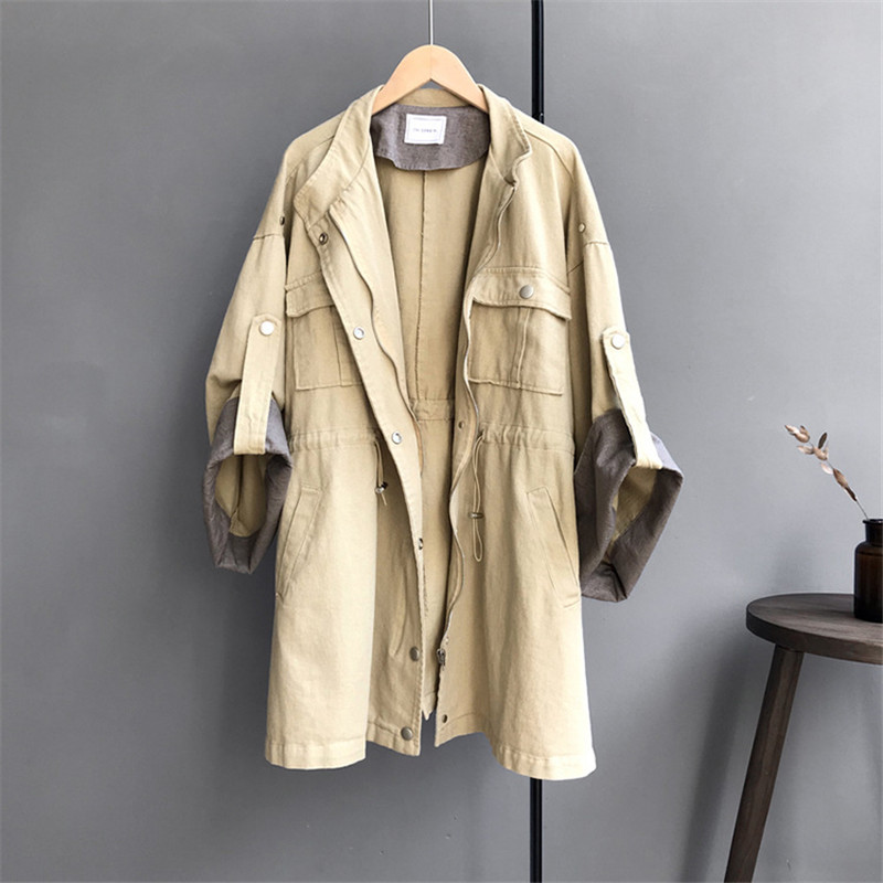 Winter Safari Style   Trench   Coat 2018 Huge Sleeve Casual women's khaki   Trench   Coat long Outerwear loose clothes for lady