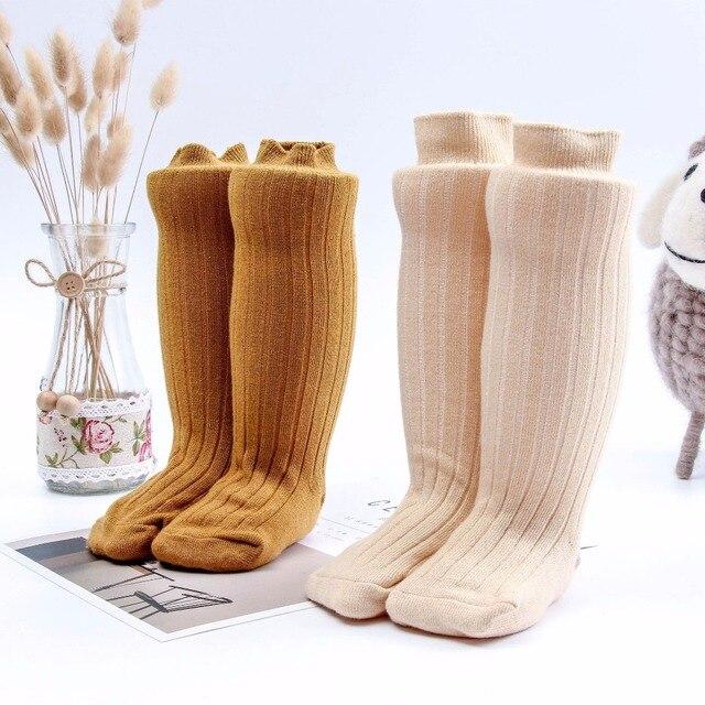 3116647d1da Toddler girls Socks Baby Knee High Sock Solid Color Children Long Sock Infant  Girl Warm Leg Warmers Kids Cotton Knitted socks