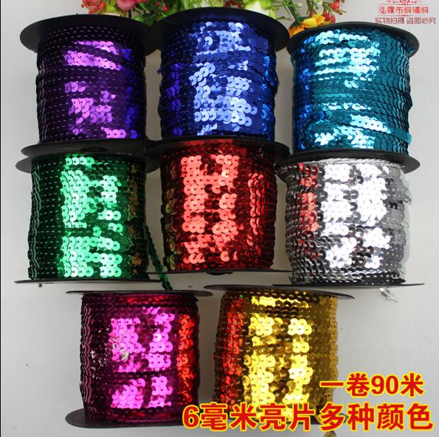 (1Roll=100Yards)6MM 3 Styles Sequins Belts Lace Trim Paillettes Ribbon For DIY Costumes Latin Dress AB Laser Normal Trimmings