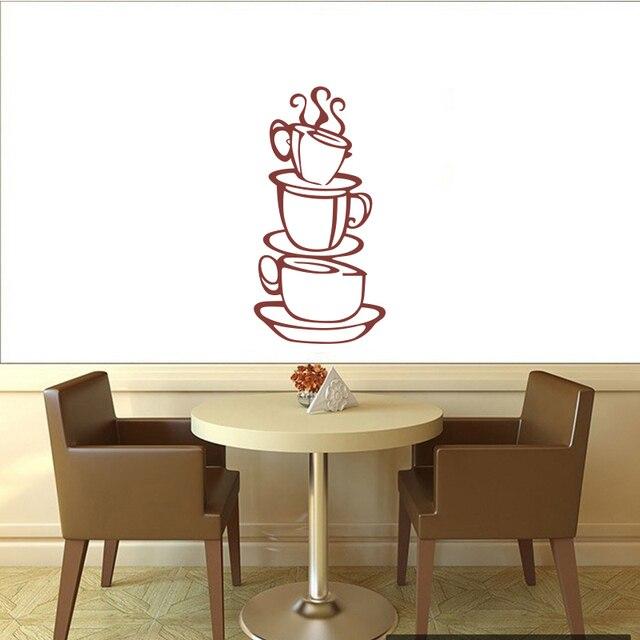 US $4.33 45% di SCONTO|Sticker gourmet cucina decorazione tazza di caffè  del vinile poster da parete murale applique carta da parati caffè negozio  ...