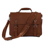 YUPINXUAN Mens Cow Leather Handbags Multifunctional Crazy Horse Leather Briefcase Brown Leather Work Bags Vintage Shoulder Bags