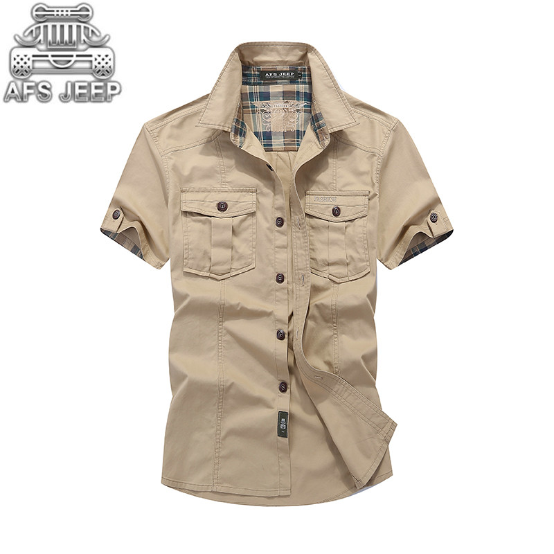 Loose Mens Blouses 2019 AFS JEEP Plaid Collar Casual Denim Shirts Military Cargo Short Sleeve European And American 100% Cotton
