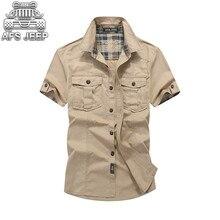 купить Loose Mens Blouses Brand AFS JEEP Plaid Collar Casual Denim Shirts Military Cargo Short Sleeve European and American 100% Cotton дешево