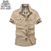 Loose Mens Blouses Brand AFS JEEP Plaid Collar Casual Denim Shirts Military Cargo Short Sleeve European and American 100% Cotton