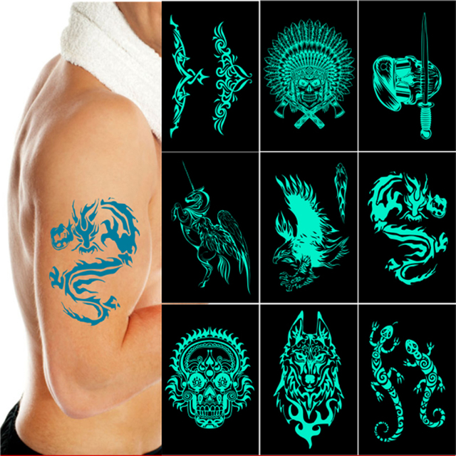6pcs/lot Lake Green Glow In The Dark Flash Tattoos Stickers Pirate Wolf Dragon Tribal Skull Totem Fake Tatoo Fluorescent Men