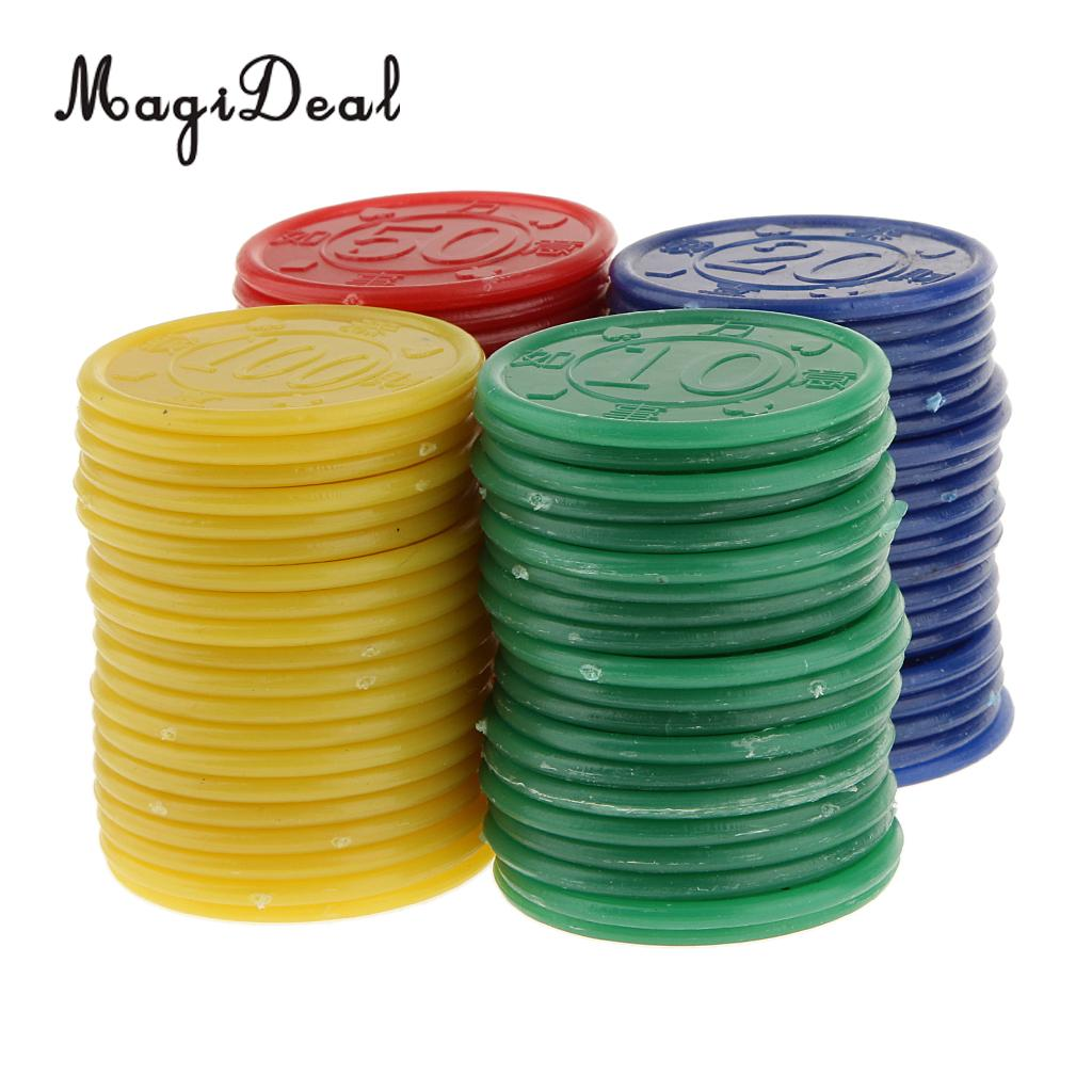 MagiDeal Wholesale 80 Plastic Round Shaped Mini Professional Poker Chips for Club Pub Gaming Tokens Coins Red Green Blue Yellow