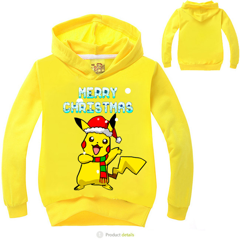 Z&Y 3-16Years Pokemon Hoodie Infant Merry Christmas Clothes Boys Hoodies Children Sweatshirts Bike Jumper Veste Garcon MS1719