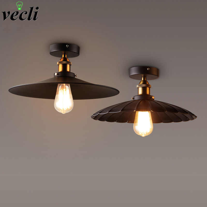 Vintage Retro Ceiling Light Loft Industrial Edison Bulb Metal Light Country style Black Ceiling lamp Home Lighting Fixtures