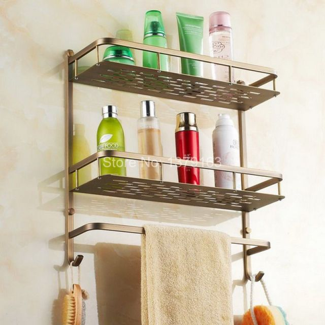 Antike Messing Bad Zubehör Dual Tier Dusche Seife/Schwamm Tray Caddy ...