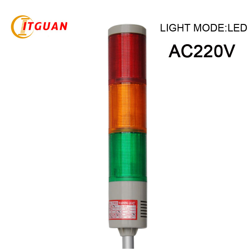 LTA-505-3 AC220V industrial 3 Layers LED warning tower light red/yellow/green U Bottom dc24v tower buzzer warning red green led industrial warning light