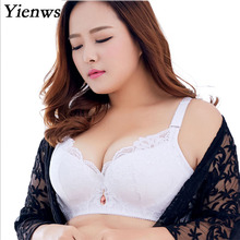 Yienws Lace Sexy Bras for Women Bralette Lingerie Plus Size Bra Push Up White Black Large Brassiere D E Big Size Bras YID003